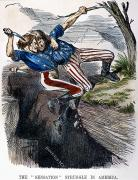 Wrestle Prints - Cartoon: Civil War, 1862 Print by Granger