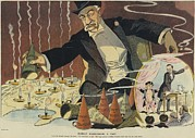 Oppression Prints - Cartoon Depicting A Giant Businessman Print by Everett