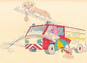 Lion Illustrations Posters - Cartoon Fire Engine and Animals Poster by Mike Jory