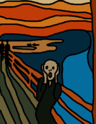 The Scream Framed Prints - Cartoon Scream Framed Print by Jera Sky