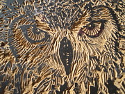 Lino Print Reliefs - Carved Eagle Owl by Julia Forsyth