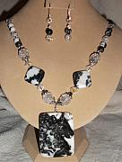 Zebra Jewelry - Carved Horse Zebra Agate set by Kim Souza