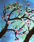 Cherry Blossoms Painting Prints - Carved in a Cherry Tree I Print by Barbara Griffin