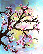 Cherry Blossoms Painting Prints - Carved in a Cherry Tree I I Print by Barbara Griffin
