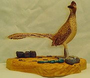 Woodcarving Sculpture Originals - Carved Roadrunner II by Russell Ellingsworth