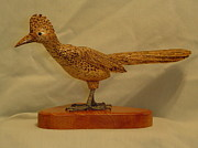 Wildlife Sculpture Prints - Carved Roadrunner Print by Russell Ellingsworth