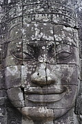 Siem Reap Posters - Carved stone face at Bayon Temple Poster by Sami Sarkis