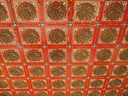 Wooden Paneling Prints - Carved Temple Ceiling Print by Yali Shi