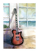 Watercolor Painting Prints - Carvin Electric Guitar Print by Andrew King