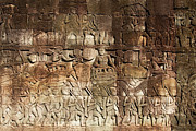 Relief Sculpture Photograph Posters - Carvings on Bayon Temple Wall Poster by Artur Bogacki