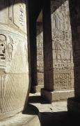 Featured Posters - Carvings On Pillars On Medinet Habu Poster by Axiom Photographic