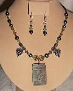 Grapes Jewelry - Carvred Jade Grapes Necklace Set by Kim Souza