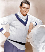 V-neck Sweater Posters - Cary Grant, Ca. 1934 Poster by Everett
