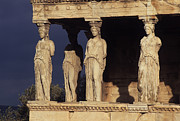 Ancient Ruins Photos - Caryatides at the Acropolis by Cliff Wassmann