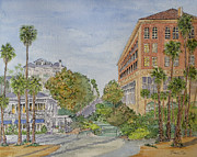 Santa Monica Paintings - Casa del Mar and Shutters Hotels in Santa Monica by Bonnie Sue Schwartz