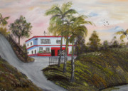 Puerto Rico Paintings - Casa En Montanas De Cerro Gordo by Gloria E Barreto-Rodriguez
