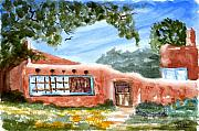 Watercolors - Casa en Taos by Rich Stedman