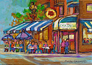 Montreal Restaurants Paintings - Casa Grecque Montreal by Carole Spandau