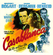 Movies Photo Framed Prints - Casablanca, Poster Art, Humphrey Framed Print by Everett
