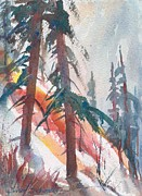 North Cascades Paintings - Cascade Pass Fall Slope 02 by Sukey Jacobsen