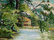 Finger Painting Prints - Cascadilla Boathouse Ithaca New York Print by Ethel Vrana