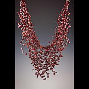 Unique Necklace Jewelry Originals - Cascading Cranberry Freshwater Pearls by Ella Lazkovich