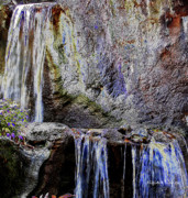 Ledge Digital Art Prints - Cascading Water Solarized Print by DigiArt Diaries by Vicky Browning