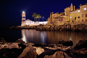 Illuminated Framed Prints - Cascais Lighthouse Framed Print by Carlos Caetano