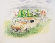 Rusty Old Cars Drawings Posters - Cash For Clunkers Poster by Timothy Theis