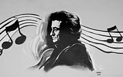 South Johnny Cash Framed Prints - CASH in BLACK AND WHITE Framed Print by Rob Hans