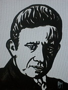 Johnny Drawings Posters - Cash in Black Poster by Pete Maier