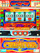Antique Digital Art Prints - Casino Slot Machine . One Arm Bandit . Triple Bar Bonus Jack Pot Print by Wingsdomain Art and Photography