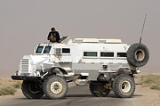 Iraq Prints - Casper Armored Vehicle Blocks The Road Print by Terry Moore