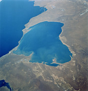 Evaporation Posters - Caspian Sea Evaporation Basin Poster by Nasa