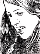 Robbi Musser Drawings - Cass Elliot by Robbi  Musser