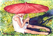 Repose Drawings Posters - Cassie with the Red Umbrella Poster by Suzanne  Frie