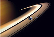 Planets Drawings - Cassini Spacecraft by Gil Babin and Photo Researchers