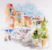 Provence Village Painting Posters - Cassis Along The Promenade Poster by Pat Katz
