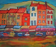 Dye Paintings - Cassis Harbour I by Helen Duplassie