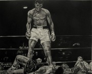 Boxing Gloves Painting Prints - Cassius Clay and Sonny Liston Print by Cynthia Farmer