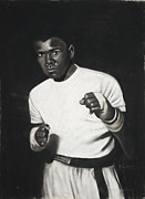 Black And White Pastels Posters - Cassius Clay Poster by L Cooper