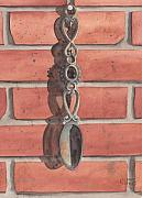 Hanging Painting Posters - Cast Iron Welsh Love Spoon Two Poster by Ken Powers
