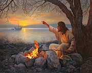 Sun Rise Prints - Cast Your Nets on the Right Side Print by Greg Olsen