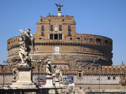 Figures Metal Prints - Castel Saint Angelo on the River Tiber. Rome Metal Print by Bernard Jaubert