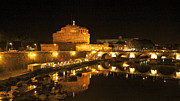 Fortifications Framed Prints - Castel San Angelo at night. Rome Framed Print by Bernard Jaubert