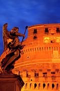 Night Angel Framed Prints - Castel Sant Angelo Framed Print by Brian Jannsen