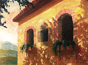 Tuscany Vineyard Oil Paintings - Castelfranco Florence Italy IV by Christopher Clark