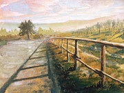 Tuscany Vineyard Oil Paintings - Castelfranco Florence Italy V by Christopher Clark