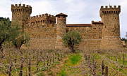 Italian Wine Framed Prints - Castello di Amorosa Castle and Vines Framed Print by Jeff Lowe