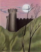 Castle Pastels - Castle by Moonlight by John Bowers